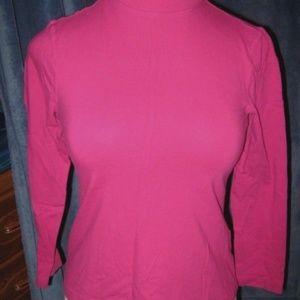Dark Pink Mock Neck Long Sleeve Stretch Shirt PM